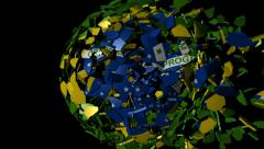 Brazil flag sphere combining and breaking apart animation Stock Footage