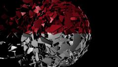 Indonesia flag sphere combining and breaking apart animation - stock footage