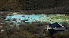 Multicolur lakes in Huanglong, Sichuan Province, China Stock Photos