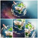 Stock Illustration of planet earth illustration collage