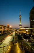 shanghai modern infrastructure building at night - stock photo