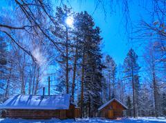 house on a moonlit night. moon - stock photo