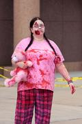 Female undead wanders around in the atlanta zombie run Stock Photos