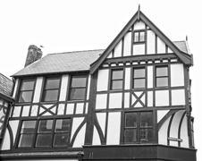 Stock Photo of black and white tudor house (isolated)