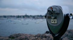 Marblehead harbor binocular rack focus Stock Footage
