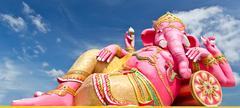 pink ganecha statue - stock photo