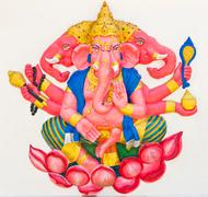 Indian or hindu god named trimukha ganapati Stock Photos