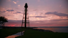 Marblehead lighthouse sunset wide Stock Footage