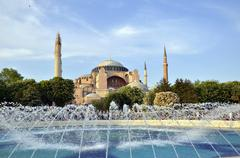 famous  hagia sophia, the famous historical building of istanbul. now it's a - stock photo