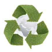 grass recycle symbol with globe - stock photo