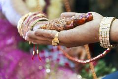 Great hindu wedding ritual hand on hand Stock Photos