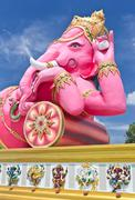 Pink ganesha largest statue in thailand Stock Photos