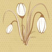 Easter beautiful crocus in snow and ice closeup Stock Illustration