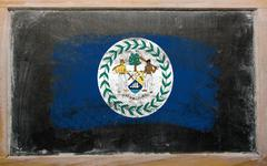 Flag of belize on blackboard painted with chalk Stock Photos