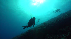 Scuba Divers Swimming Along Reef Stock Footage