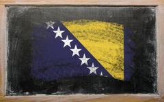 Stock Photo of flag of bosnia and herzegovina on blackboard painted with chalk