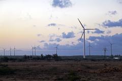 Eco power generation windmills Stock Photos