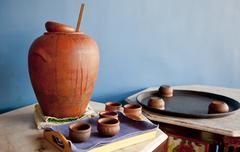 Indeginous craft of earthern ware display Stock Photos