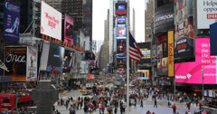 Ultra HD 4K Crowded Traffic New York City, Aerial View of Times Square Manhattan Stock Footage