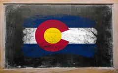 Flag of us state of colorado on blackboard painted with chalk Stock Photos