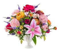 Flower bouquet in ceramic vase Stock Photos