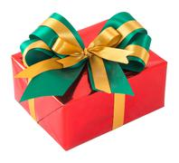 Red gift box with green and gold bow tie Stock Photos