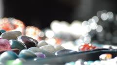 Semi precious jewels pan Stock Footage