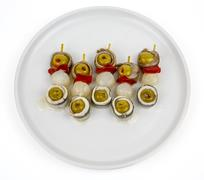 Anchovy olives flags Stock Photos