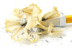 Sharpening pencil and wood shavings Stock Photos