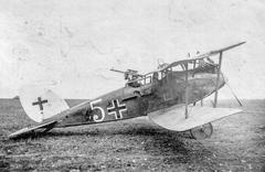 WW1 - Airplane with rear gun - stock photo