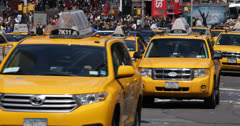 Stock Video Footage of Ultra HD 4K Crowded New York City, Yellow Cab Taxi, Times Square, Car Traffic