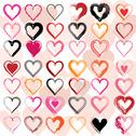 Stock Illustration of Set of scribble hearts with grungy texture. Vector