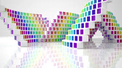 Animation conceptual modern building made of colored glass cubes Stock Footage