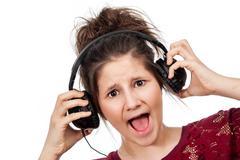 Teenage girl with headphones. Stock Photos
