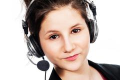 pretty girl with headset. - stock photo