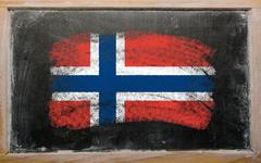 Flag of norway on blackboard painted with chalk Stock Photos