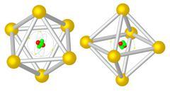 Render: atom caught in metalic cristal Stock Illustration