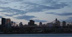 Ultra HD 4K New York City Skyline, Queensboro Bridge, Skyscrapers, East River Stock Footage