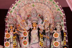 Decorated goddess durga in durga puja Stock Photos