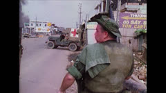 Vietnam War - American Officer an ARVN on Street Stock Footage