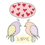 Romantic card with birds in love Stock Illustration