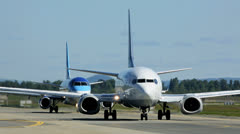 Several Airplanes taxing Stock Footage