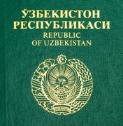 Fragment of the uzbekistan  passport cover Stock Photos