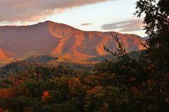 red autumn mountain - stock photo