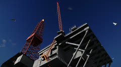 Oil Rig against blue sky, cam fly Stock Footage