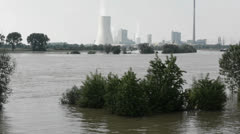 Power station in flood Stock Footage