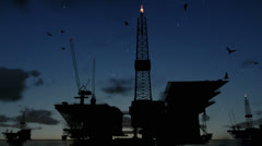 Oil rigs in ocean at night, timelapse clouds - stock footage