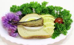 Sprat sandwich Stock Photos