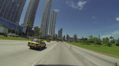 view of the skyrise buildings in the main city of Panama - stock footage