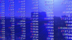 Stock market pannel, tilt, static quotes, shine Stock Footage